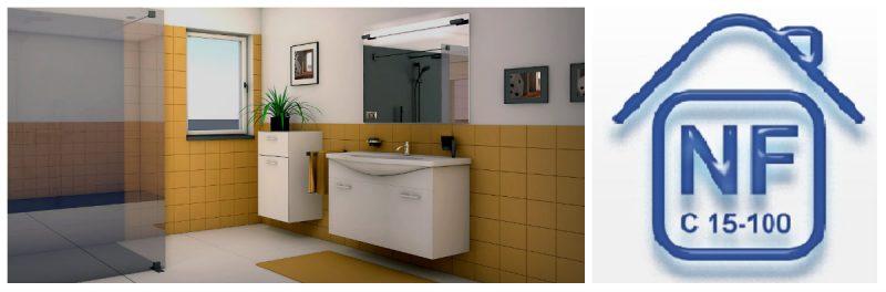 La norme NF C15-100 dans la  salle de bain